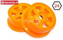 TPS5026/60OR Nylon Felge 6-Speichen Orange Ø120-B60 mm, 2 st.