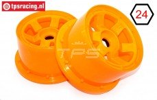 TPS5028/80OR Nylon Felge 6-Speichen Orange Ø120-B80 mm, 2 st.