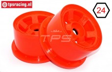 TPS5028/80RE Nylon Felge 6-Speichen B80 mm Rot, 2 st.