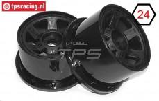 TPS5028/80B Nylon Felge 6-Speichen Ø120-B80 mm Schwarz, 2 st.