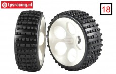 FG60214/05 Medium Buggy narrow tires gleud on white rims, 2 pcs.