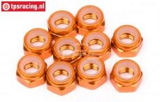 HPIZ868 Aluminium Stopmutter M4 Orange, 10 Stk.