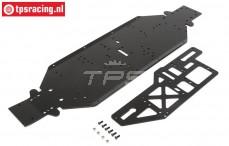 LOS251050 LOSI Chassis & Halteplatte, 4mm, schwarz: DBXL-E, set