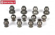 LOSB5904 Sturz/Lenkungs Kugel, BWS-LOSI-TLR, 12 st.